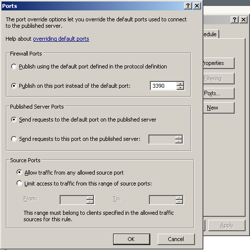 Server Publishing Ports Dialog where the port change can be made